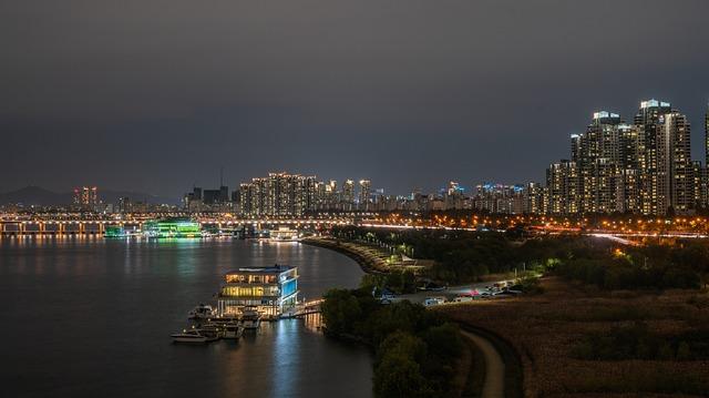 River, Seoul, Korea, Han River, Sky, City, Cloud