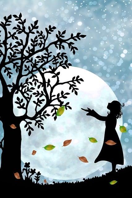 Fantasy, Mystical, Moon, Star, Girl, Silhouette, Sky