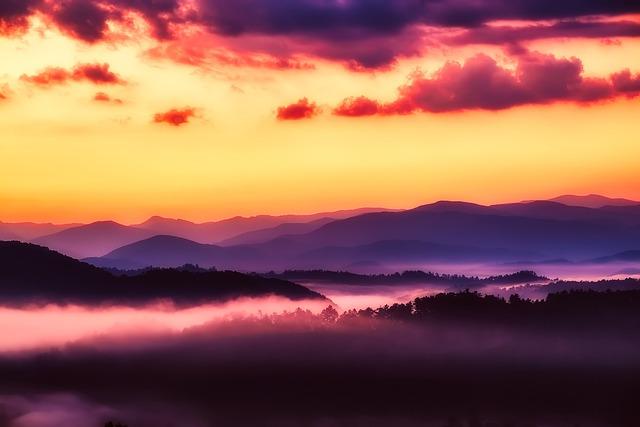 Great Smoky Mountains, National Park, Sunrise, Sky