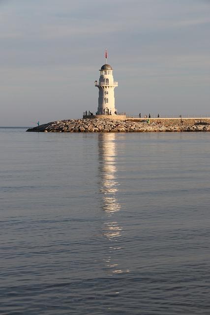 Lantern, Lighthouse, Landscape, Blue, Sunset, Sky