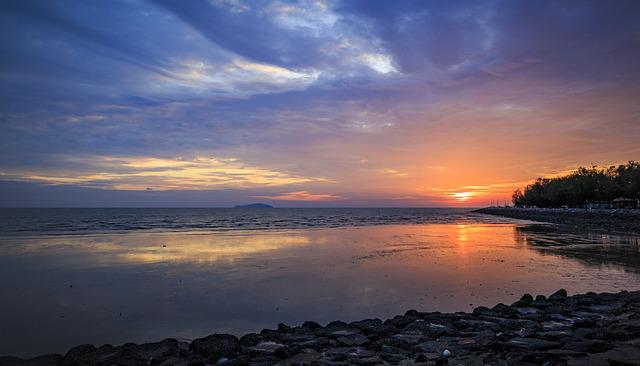 Sunset, Dawn, Water, Dusk, Nature, Sun, Sky, Panoramic
