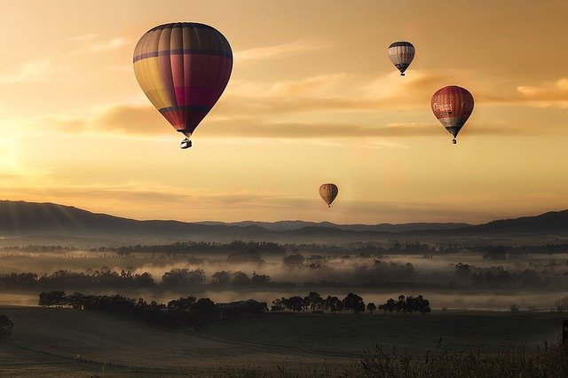 Sky, Hot Air Balloons, Sunset, Landscape, Fields