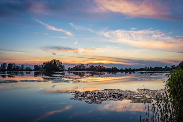Lake, Sunset, Sky, Abendstimmung, Clouds, Nature, Mood