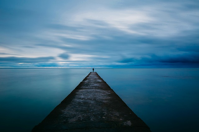 Dock, Pier, Sunset, Dusk, Sky, Clouds, Sea, Ocean