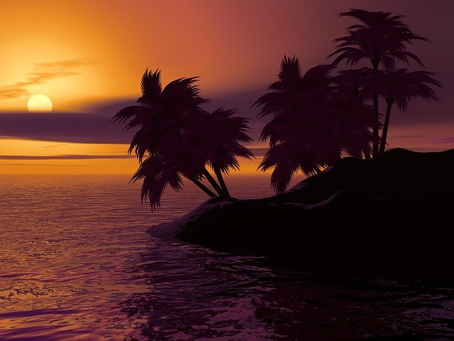 Island, Palm, Sunset, Sunrise, Caribbean, Summer, Sky