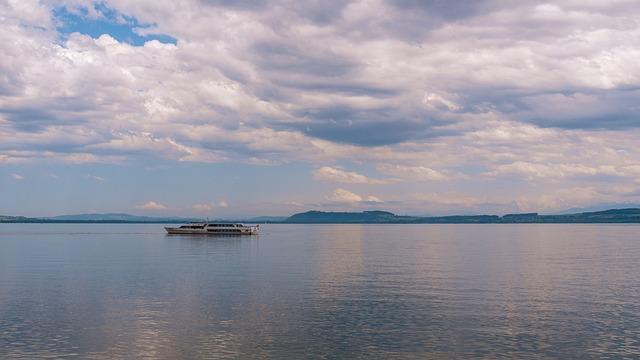 Lake Neuchâtel, Switzerland, Clouds, Sky, Lake
