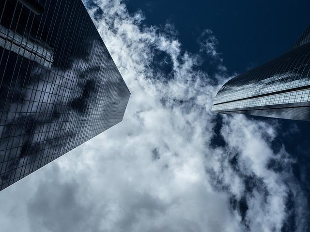 Torres, Madrid, Sky, Clouds, Buildings, Glass