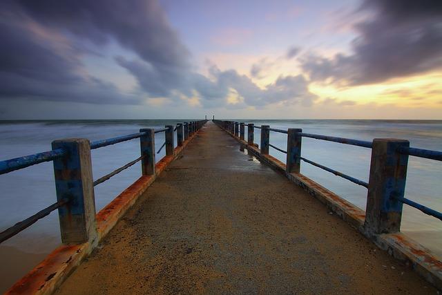 Jetty, Clouds, Sea, Seascape, Tropical, Waves, Sky