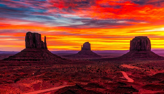 Monument Valley, Utah, Sunset, Twilight, Sky, Clouds