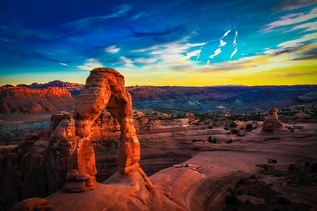 Arches National Park, Utah, Sky, Clouds, Sunset, Dusk