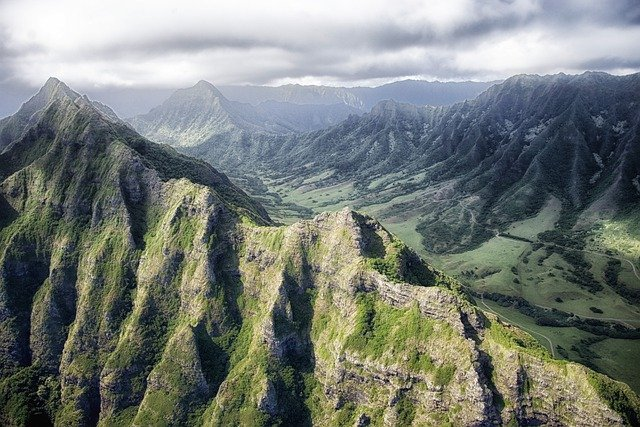 Hawaii, Mountains, Sky, Clouds, Valley, Ravine, Gorge