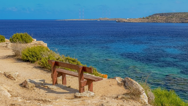 View Point, Bench, Sea, Sky, Clouds, Nature, Horizon
