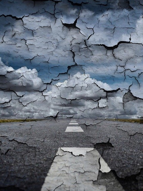 Road, Wall, End Of The World, Flake, Sky, Clouds, Past