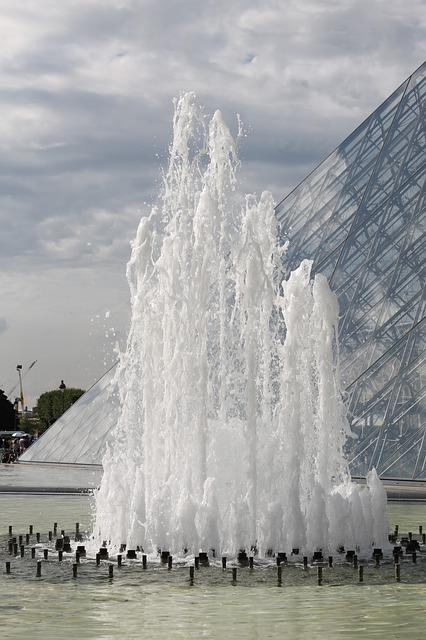 Basin, Water, Fountain, Water Jets, Louvre, Sky
