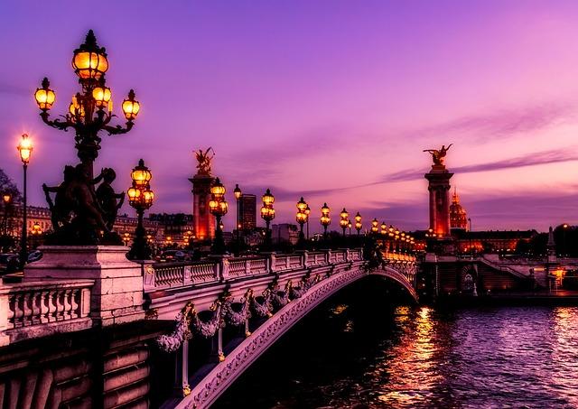 Paris, France, Bridge, River, Water, Sunset, Sky