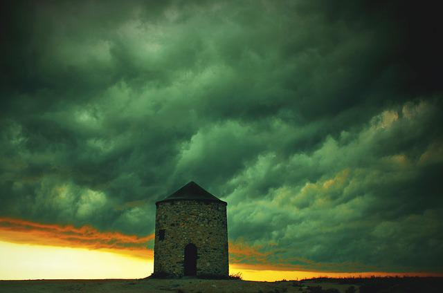 Sky, Clouds, Mill, Windmill, Sunset, Gloomy, Stormy