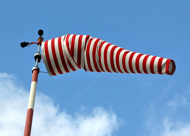 Air Bag, Wind Sock, Wind, Windy, Sky, Striped, Blue