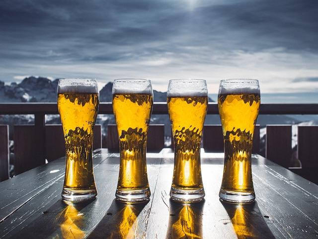 Beer, Glass, Table, Sky, Mountains, Ski, Winter, Snow