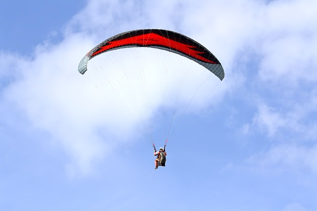 Paragliding, Skydiving, Parachute, Glide, Fly, Blue