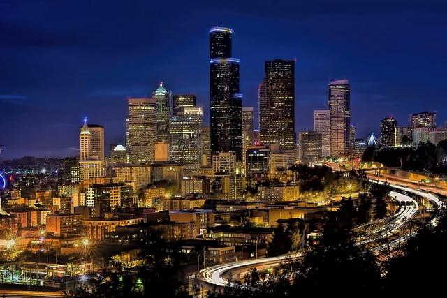 Skyline, Downtown, Seattle, Cityscape, Urban, Blue Hour