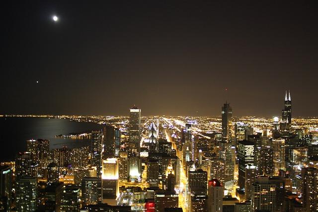 Chicago, Skyline, Night, City