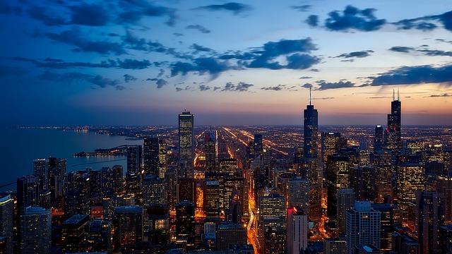 Buildings, City, Illuminated, Skyline, Cityscape