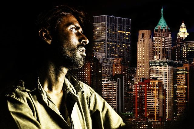 New York, Skyline, Portrait, Dark Light, Man, Face