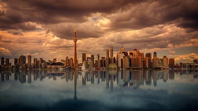 Toronto, Skyline, Waters, Sunset, Dawn, Reflection