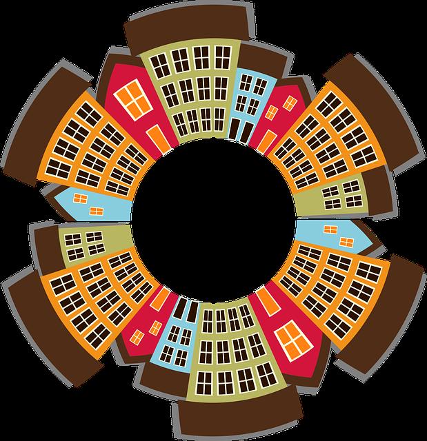 Cityscape, City, Town, Row Houses, Skyline, Buildings