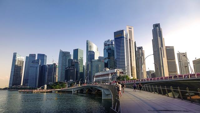 Singapore, Singapore River, Jubilee Bridge, Skyline