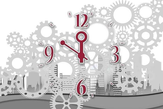 Clock, Time, Skyscrapers, City, Mechanics, Gear, Gears