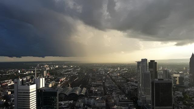 Thunderstorm, Clouds, Frankfurt, Skyscrapers, Mood