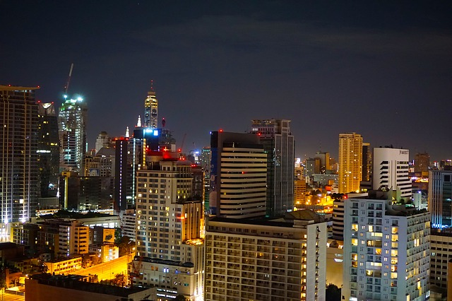City, Night, Bangkok, Skyscrapers, Towers, Lit
