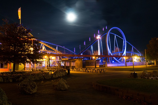Theme Park, Slagharen, Netherlands, Holland, Night