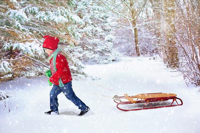 Winter Background, Christmas Background, Sled