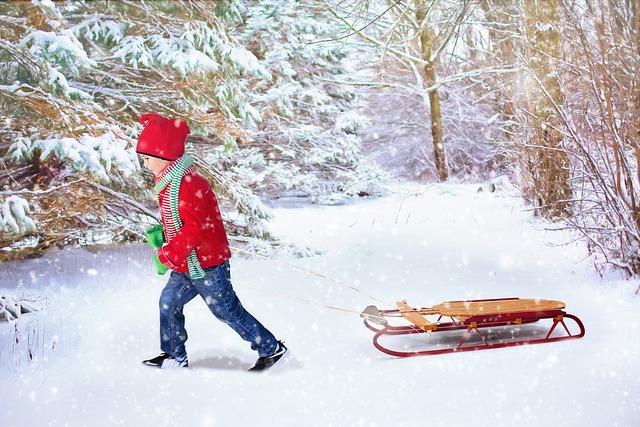 Winter Background, Christmas Background, Sled