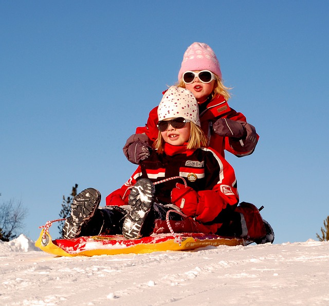 Sweden, Children, Girls, Sled, Sledding, Winter, Snow