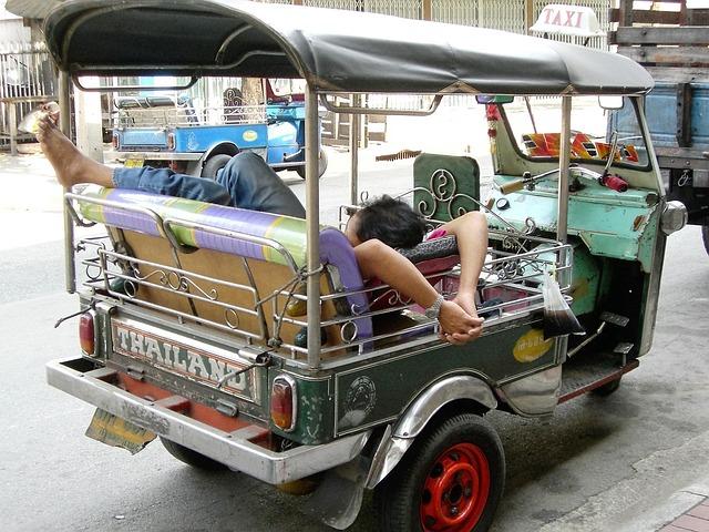 Transport, Tuk-tuk, Thailand, Sleep, Relax