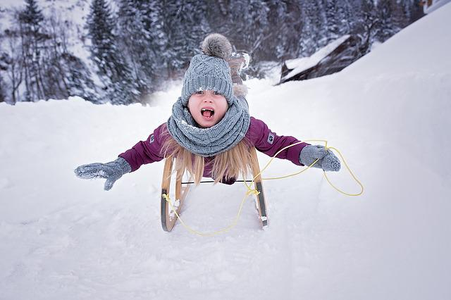 Person, Human, Child, Girl, Toboggan, Slide, Cap