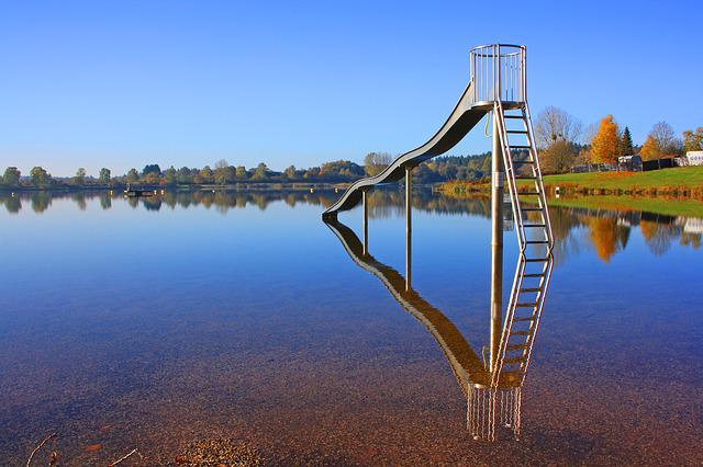 Lake, Slide, Water Slide, Mirroring, Water, Blue