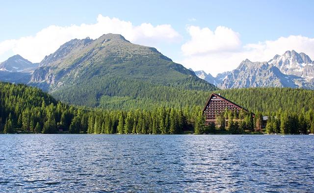 Vysoké Tatry, Strba Tarn, Lake, Hotel, Summer, Slovakia