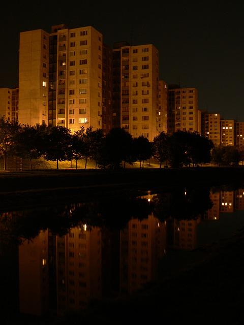 Slovakia, Bratislava, Night, Megalopolis, View