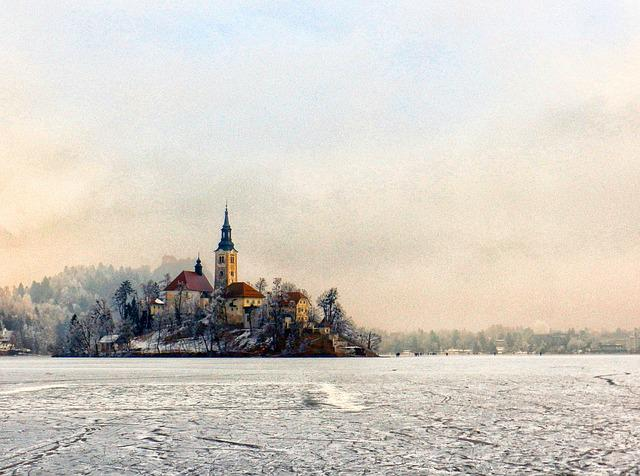 Church, Island, Ice, Bled, Slovenia, Water, Lake, Alps