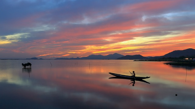 Landscape Photo, Dawn, Lagoon, Catch Fish, Small Boat