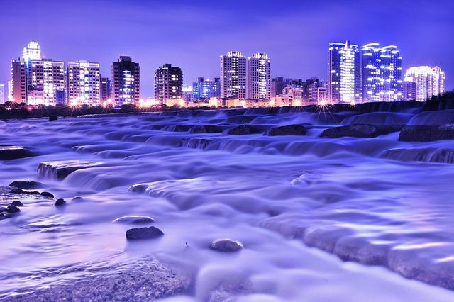 Small Fresh, City, Lamp, Long Exposure, River, Flow