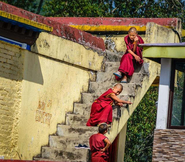 Monk Kids, Small Lama, Monastery, Religious, Asia