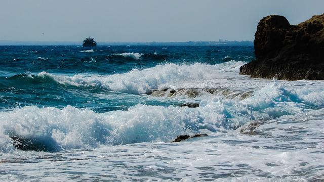 Wave, Smashing, Rocky Coast, Autumn, Cyprus, Ayia Napa