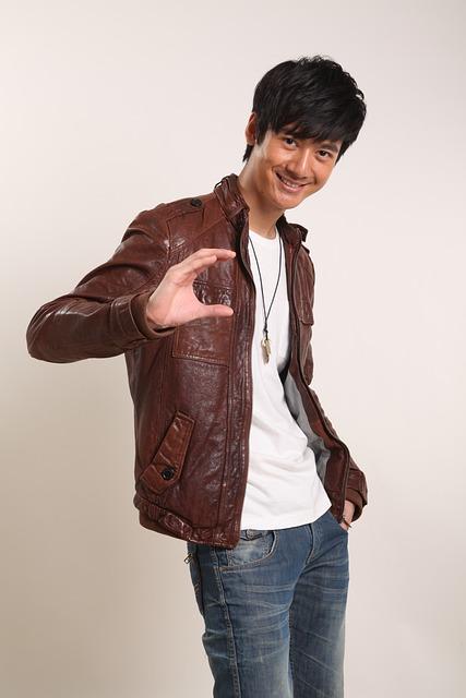 Smile, Man, Handsome Guy, Asia, Leather Jacket
