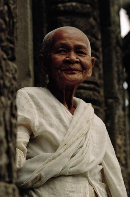 Beautiful Elderly Woman, Buddhist Nun, Smile, Serenity