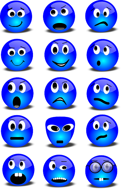 Emoticons, Smilies, Set, Smiley, Blue, Expression, Face